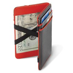 This ultra-slim wallet that magically secures folded bills with just a flip. Simply insert cash in the middle of the wallet and close it. Next, flip it over, and, like magic, the cash is secured instantly under taut and durable elastic straps.