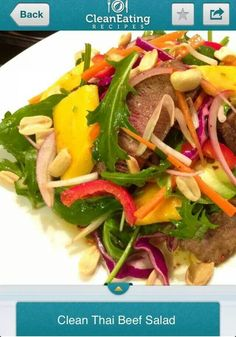 Beef thai salad Thai Beef Salad, Thai Salads, Clean Eating Recipes, Beef Recipes, Tacos, Pork, Food And Drink, Meat, Cooking