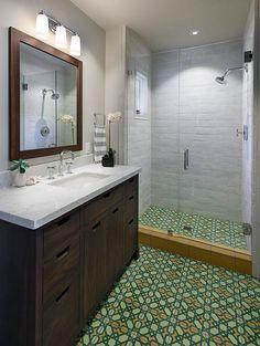 Bathroom with custom Original Mission Tile floor tile, concrete wall tiles, and custom walnut vanity.
