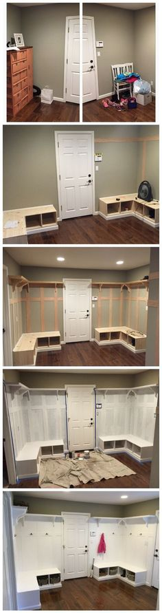 Mud Room, Batten Board, Bench, Corner, White, Cubbies, DYI, Fixer Upper, Joanna Gaines, Chip Gaines, Farmhouse Style, Before and after, shelf, crown molding, wainscoting, coat hooks, back entry, lockers,