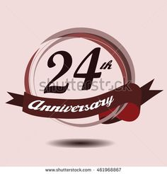24th anniversary logo with circle composition soft chocolate color and ribbon
