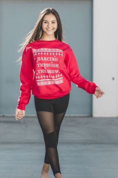 6e487a75ea4 Dancing Through the Snow - holiday sweatshirt with a ballet twist. Shown  here with mesh. Covet Dance