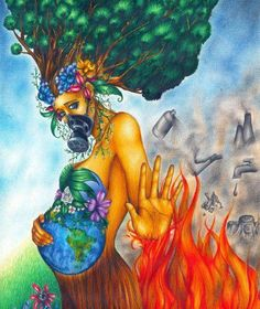 What an awesome drawing! Mother Earth protecting herself from the chemicals and impurities found in conventional products (that eventually makes its way into our #environment).