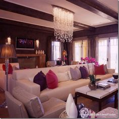 Love that chandelier and the silver white fuchsia violet and lavender!