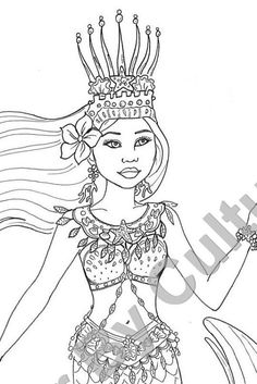 CYBER SALE! 11-29-15 til 12-5-15 colorbyculture.com.  Fashion Coloring Page  Mermaid of Cambodia  by ColorByCulture