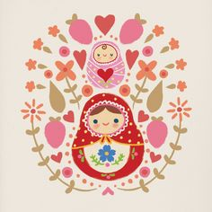 Russian Dolls Canvas Art Print by @oubly