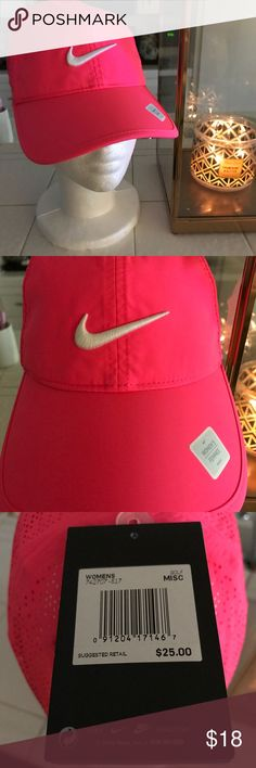 Hot Pink Nike Cap Dri Fit style material. NIKE Cap. Really pretty hot pink color, hard to find in this style. Has a mesh like design towards the back. Tags attached, New never worn. Nike Accessories Hats