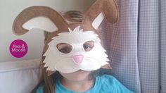 100% wool felt rabbit mask by Mouse Moose on Etsy. A perfect eco friendly and sustainable option for hours of imaginative play, pretend play, or dress up - for a themed party, or a costume. Handmade in Vancouver, Canada. Easter gift idea, Easter basket, Easter bunny mask. Felt rabbit mask.