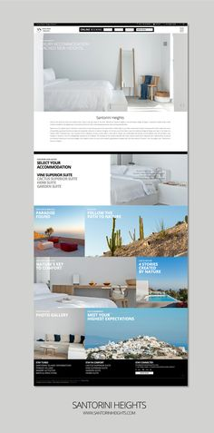 F- Design Website for Santorini Heights at www. Paradise Found, Search Engine Optimization, Nature Photos, Santorini, Photo Galleries, Web Design, Website, Site Design