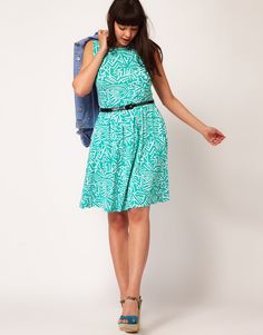 Skater Plus Size Dress In Geo Print With Belt - $41.43 | Asos Curve [Plus Size Clothing]