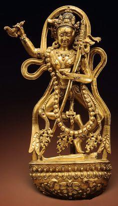 丹薩替寺造像 - www.seercn.com 西藏(丹萨替寺风格) 十四世纪 高31.1厘米红铜鎏金嵌宝石 单体浇铸 来源: 纽约苏富比 2004年3月24日 第78号.