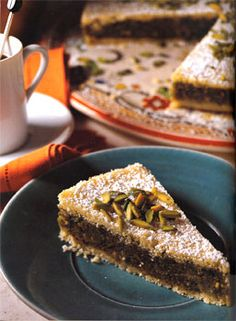Recipe for Semolina Pistachio Layer Cake (Bohsalini) #nuts #MiddleEastern #yum