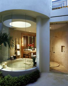 Glass Outdoor Interior Design of Bathroom...