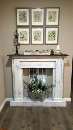 Discover recipes, home ideas, style inspiration and other ideas to try. Pallet Fireplace, Distressed Fireplace, Faux Fireplace Mantels, Christmas Fireplace, Modern Fireplace, Fireplace Surrounds, Fireplace Design, Mantles, Faux Foyer