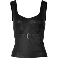 McQ Alexander McQueen Leather Bustier Top ($525) ❤ liked on Polyvore featuring tops, shirts, corset, tank tops, black, black corset top, sleeveless shirts, black leather shirt, bustier corset tops and black leather corset