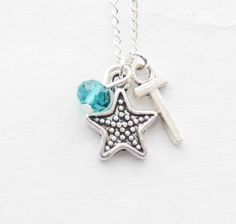 Personalized Starfish Necklace Silver Starfish Jewelry Nautical Necklace Tiny Star fish Birthstone Initial Necklace Silver Star Necklace by SmittenKittenKendall on Etsy