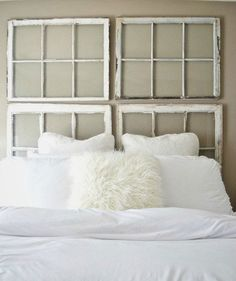 Antique Window Headboard | A headboard can give your bedroom a more polished, finished look. But if you haven't gotten around to buying one (or can't afford the splurge), why not make your own? Take a look at these DIY headboard ideas that range from easy to advanced.