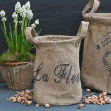 Jutesack mit Henkel Sack Jute Aufbewahrung Blumenübertopf Übertopf
