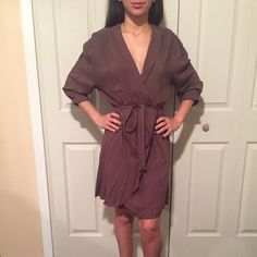 Baggy tan dress with tie around waist Worn once great condition will be steamed before shipped Bar III Dresses