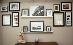 another option - floating wall shelves with frames