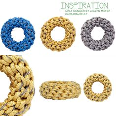 KARA bracelet DIY inspiration--made with utility cord, but any cording with a bit of thickness would work I think (different cord might need different methods of finishing)! very simple crochet stitch used.