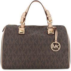 MICHAEL Michael Kors Grayson Monogrammed Bowler Bag ($395) ❤ liked on Polyvore featuring bags, handbags, purses, bolsas, accessories, brown, bowler purse, brown purse, brown bag and brown handbags
