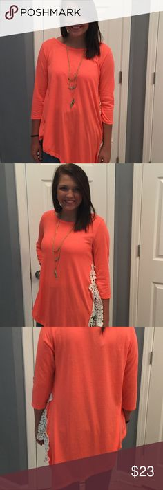 Bright coral colored top. NWT NWTBrighten your style with this cute 3/4 sleeve top with a gorgeous lace side that completely makes it POP. Dress up or down. Either way you are certain to steal the show! Tops