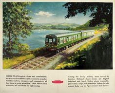 BARBER (active 1950-1961). A diesel train on the shore of Bassenthwaite Lake, near Keswick, Cumberland. #railway