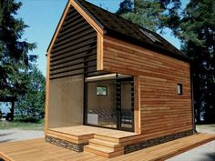 Small Wooden House, Small Tiny House, Tiny House Cabin, Cabin Design, Tiny House Design, Micro House Plans, Modern Barn House, A Frame House, Floating House