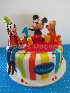 Doces Opções: Bolo do 1º aniversário do André com o Mickey e ami...