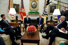 For Trump and Ryan, a tortured relationship grows more so  -  September 8, 2017:     In this Sept. 6, 2017, photo, President Donald Trump pauses during a meeting with Congressional leaders in the Oval Office of the White House, Wednesday, Sept. 6, 2017, in Washington. From left, Speaker of the House Paul Ryan, R-Wis., Vice President Mike Pence, Trump, and Senate Majority Leader Mitch McConnell, R-Ky. The tortured relationship between Trump and Ryan has gone...