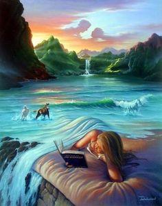 SONHO  Ler poesia recostada a  um  colchão fofo de areia cheirando a mar... Coberta por um lençol macio de ondas marítimas a alguns metros vejo  animais dóceis brincando no mar dançarino...se elevo um pouco  o olhar me deparo com uma cachoeira refrescando nossa imagem no céu que forma um belo porta retratos... Uma imagem assim...somente os poetas conseguem transformar em realidade Dentro de sua álma sensível e e sonhadora... Um dia a poesia irá transformar o mundo....eu acredito!