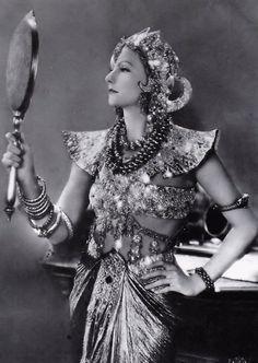 "Greta Garbo on the set of ""Mata Hari"", 1931."