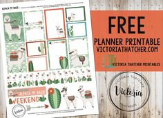 Alpaca My Bags Planner Printable - the little cacti are cute