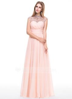 A-Line/Princess Scoop Neck Floor-Length Chiffon Tulle Prom Dress With Ruffle Beading Sequins (018056787)