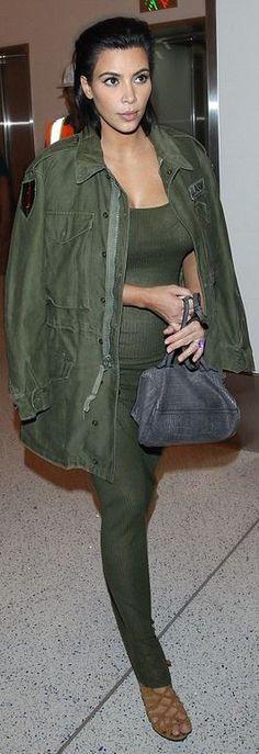 Who made Kim Kardashian's gray handbag, green ribbed maxi dress, and tan suede lace sandals?