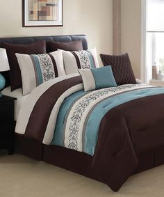 Take a look at this Blue & Brown Florence Comforter Set by Victoria Classics on #zulily today!