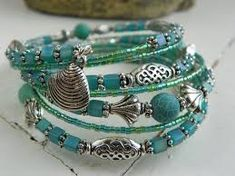 Image result for design bracelets using memory wire and blue beads