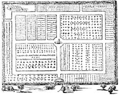 A simple outline plan for a large vegetable garden with tiny vegetables detailed in pen and ink.  No scale.