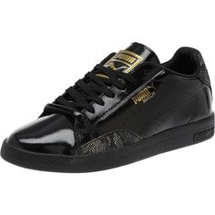 Puma Match Lo Patent Snake Women's Sneakers ($70) ❤ liked on Polyvore featuring shoes, sneakers, grip shoes, tennis trainer, patent leather tennis shoes, grip trainer and patent sneakers