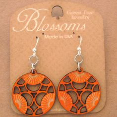 TRI Green Tree Jewelry TANGERINE laser-cut wood earrings USA 114 BLOSSOMS circle #GreenTreeJewelry #DropDangle
