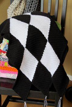 IMG_0425, via Flickr. Crochet diamond table runner. Link to free pattern for diamonds is provided in photo description.