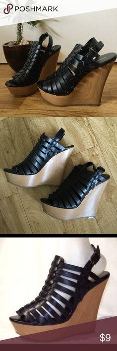 Mossimo Supply Co. Vivian Strappy Wedge Sandal Strapped platform wedge sandal that's super on trend. Never worn, great condition. Mossimo Supply Co. Shoes Wedges
