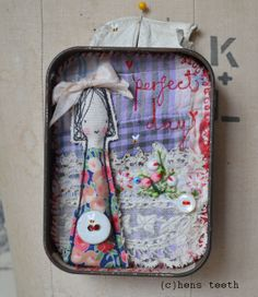 hens teeth : girl in a tin ... mixed media .... altered art