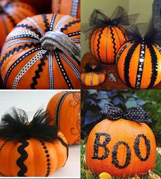 Pumpkins decorated with black ribbon and tulle