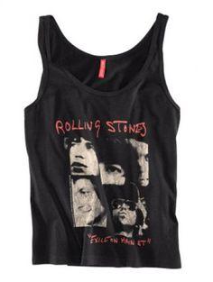 Black ROLLING STONES Print Tank Vest pictures