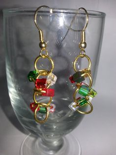 Handmade Red Green and White Glass Cube Bead Ring by NamasJewels, $15.00