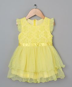 Look at this Yellow Lace Sequin Angel-Sleeve Tunic - Toddler
