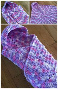 Crochet Wrap Up Hooded Baby Blanket Free Pattern Remember Wrhel.com - #Wrhel