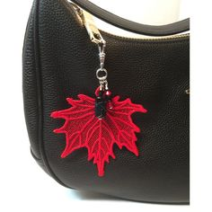 Bag Charm, Purse Charm, Key Ring, Red lace leaf, glass bead, crystals ($27) found on Polyvore